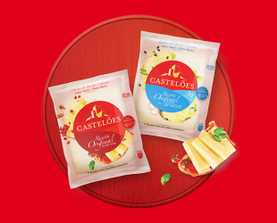 As fatias do real queijo curado numa nova embalagem